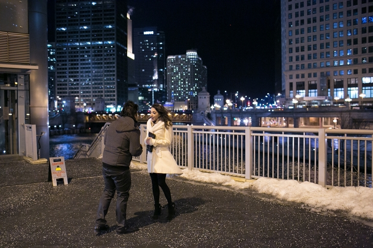 Downtown Chicago Valentines Day Proposal Chicago Proposal