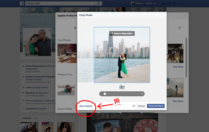 how to change facebook profile picture cropping