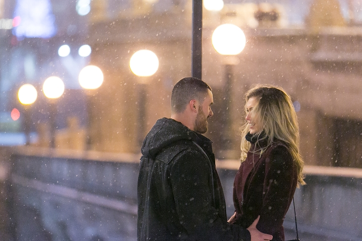 Zach Ana Snowy Downtown Chicago Marriage Proposal Photography